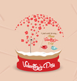 valentines day with romantic dandelion heart globe vector image
