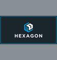 wd hexagon logo design inspiration vector image vector image