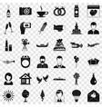 wedding celebration icons set simple style vector image vector image
