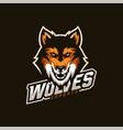 wolf esport gaming mascot logo template vector image vector image
