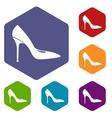 Women shoe with high heels icons set vector image vector image
