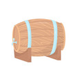 wooden barrel with metal tap and hoops on stand vector image