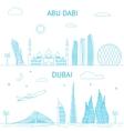 Abu Dhabi and Dubai skyline in lines vector image