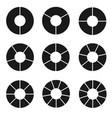 black segmented circle set vector image