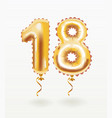 18th birthday celebration with gold balloons vector image