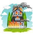 a house on fire vector image vector image