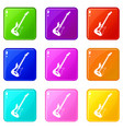 acoustic guitar icons 9 set vector image vector image