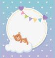 bashower circular card with bear teddy in cloud vector image vector image