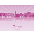 Bergamo skyline in purple radiant orchid vector image vector image