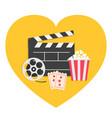 big movie reel open clapper board popcorn box vector image vector image
