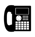 black silhouette office telephone with wired vector image vector image