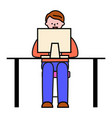 blogger with laptop student with pc freelancer vector image vector image