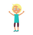 boy in t-shirt greets with global children day vector image