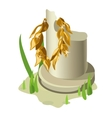 Broken white column and gold olive wreath vector image vector image