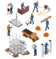 builders architects isometric set vector image vector image