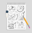 business graphics pencil sketches on realistic vector image vector image