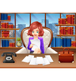 Businesswoman reading documents vector image