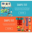 Camping equipment banners symbols and icons vector image
