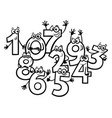 cartoon basic numbers group coloring book vector image vector image