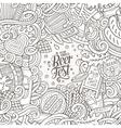 Cartoon cute doodles hand drawn Beer frame design vector image vector image