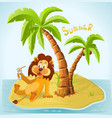 cartoon lion resting on island in summer vector image vector image