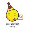 celebrating emoji line icon sign vector image vector image