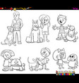 children and dog characters color book vector image vector image