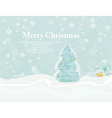 Christmas house and tree in snow-drift mountain vector image vector image