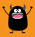 cute black silhouette monster icon happy vector image vector image