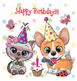 cute kitten and puppy owls with balloon and vector image