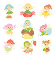 cute little forest fairies set lovely fairies vector image vector image