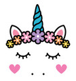 Cute unicorn face with pastel rainbow flowers