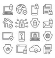 cyber security line icons on white background vector image vector image