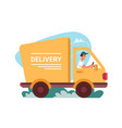 delivery courier truck car deliver flat cartoon vector image vector image