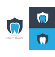 dental logo tooth in shield icon vector image
