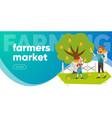 farmers market flat colorful horizontal banner vector image vector image