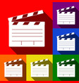 film clap board cinema sign set of icons vector image