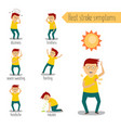 flat man with heat stroke symptoms set