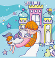 girl and unicorn cute cartoons vector image vector image