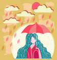 girl holding umbrella in rainy day vector image vector image