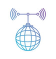 global grid map with antenna in color gradient vector image
