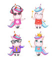 happy girl unicorn isolated 3d cute cartoon vector image vector image