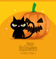 happy halloween card with black cat and pumpkin vector image vector image