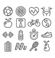 Health and Fitness line icons vector image vector image
