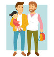 homosexual parents with their daughter vector image vector image