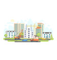 housing complex under construction - colorful flat vector image