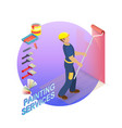 isometric house repairs concept the decorator is vector image