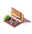isometric supermarket car parking lot vector image