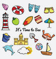 its time to sea doodle vector image vector image