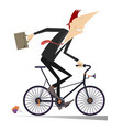 man goes to work on the bike isolated vector image vector image